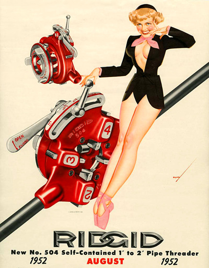 Ridgid George Petty Calendar August 1952 | Sex Appeal Vintage Ads and Covers 1891-1970