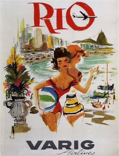 Rio Varig Airlines Brazil Brasil Copacabana Girls | Sex Appeal Vintage Ads and Covers 1891-1970