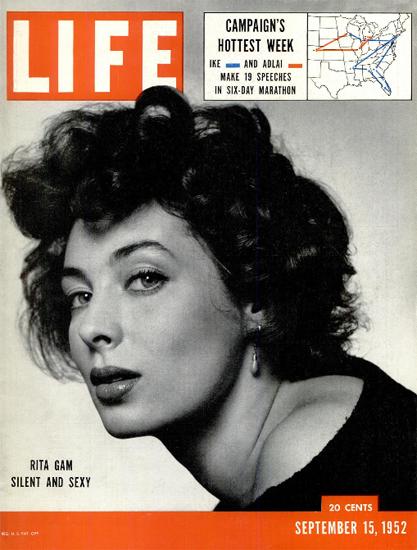 Rita Gam Silent and Sexy 15 Sep 1952 Copyright Life Magazine | Life Magazine BW Photo Covers 1936-1970