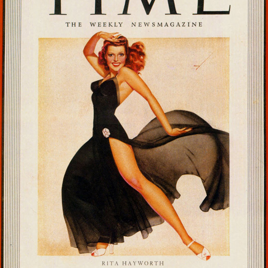 Rita Hayworth Time Magazine 1941-11 by George Petty crop | Best of Vintage Cover Art 1900-1970