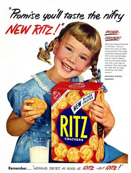 Ritz Crackers 1953 Girl Taste Nifty Richer Crisper | Vintage Ad and Cover Art 1891-1970