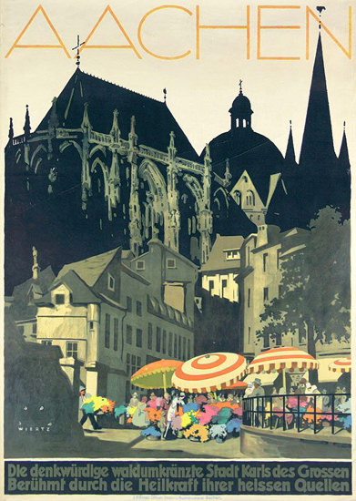 Roaring 1920s Aachen Germany 1928 Stadt Karls Des Grossen | Roaring 1920s Ad Art and Magazine Cover Art