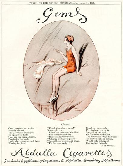 Roaring 1920s Abdulla Cigarettes Gems 1921 September Girl | Roaring 1920s Ad Art and Magazine Cover Art
