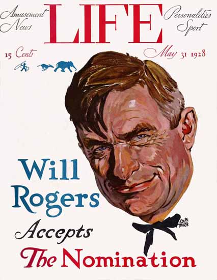 Roaring 1920s Adolph Treidler Life Will Rogers 1928-05-31 Copyright | Roaring 1920s Ad Art and Magazine Cover Art