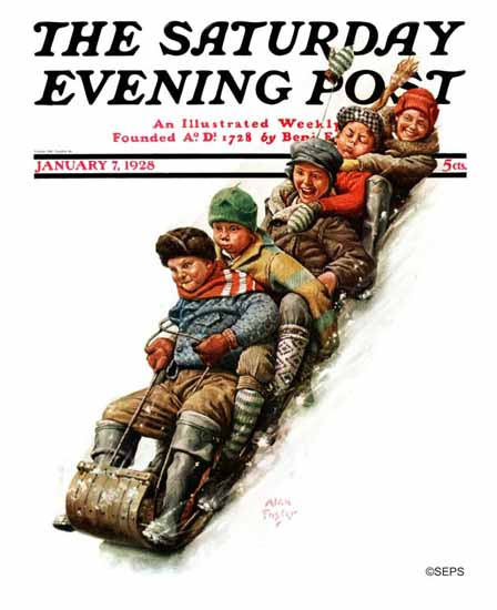 Roaring 1920s Alan Foster Cover Artist Saturday Evening Post 1928_01_07 | Roaring 1920s Ad Art and Magazine Cover Art