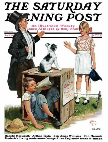Roaring 1920s Alan Foster Saturday Evening Post BOZO talks 1928_09_01 | Roaring 1920s Ad Art and Magazine Cover Art