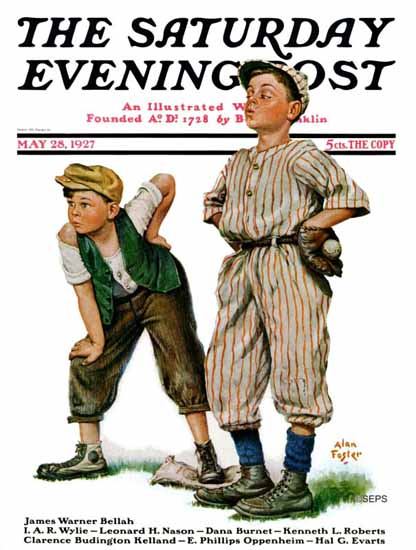 Roaring 1920s Alan Foster Saturday Evening Post Baseball 1927_05_28 | Roaring 1920s Ad Art and Magazine Cover Art