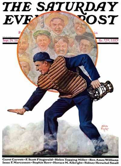 Roaring 1920s Alan Foster Saturday Evening Post Baseball 1928_09_29   Roaring 1920s Ad Art and Magazine Cover Art