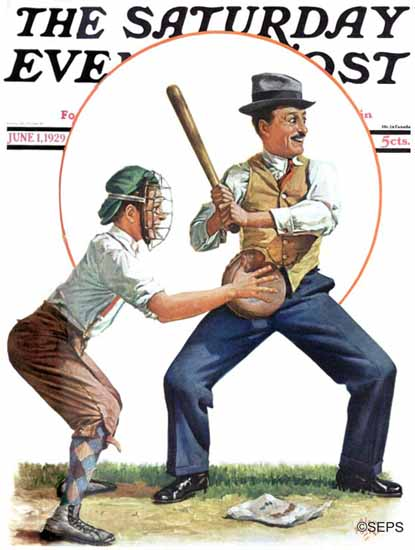 Roaring 1920s Alan Foster Saturday Evening Post Baseball 1929_06_01 | Roaring 1920s Ad Art and Magazine Cover Art