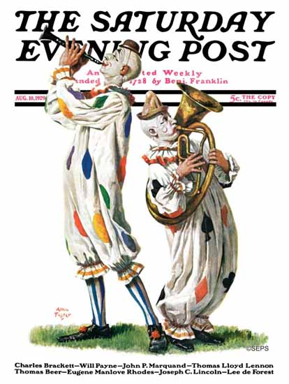 Roaring 1920s Alan Foster Saturday Evening Post Clowns 1929_08_10 | Roaring 1920s Ad Art and Magazine Cover Art