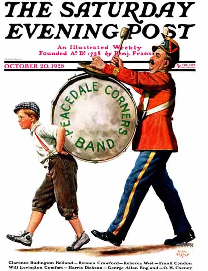 Roaring 1920s Alan Foster Saturday Evening Post Peacedale 1928_10_20 | Roaring 1920s Ad Art and Magazine Cover Art