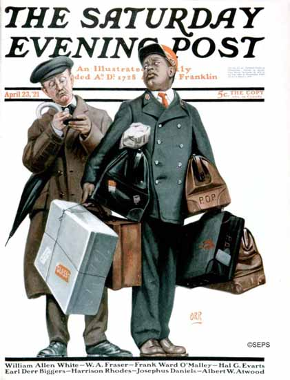 Roaring 1920s Alfred E Orr Saturday Evening Post The Tip 1921_04_23 | Roaring 1920s Ad Art and Magazine Cover Art