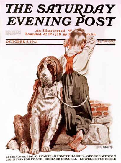 Roaring 1920s Angus MacDonall Saturday Eve Post Dog Sale 1921_10_08 | Roaring 1920s Ad Art and Magazine Cover Art