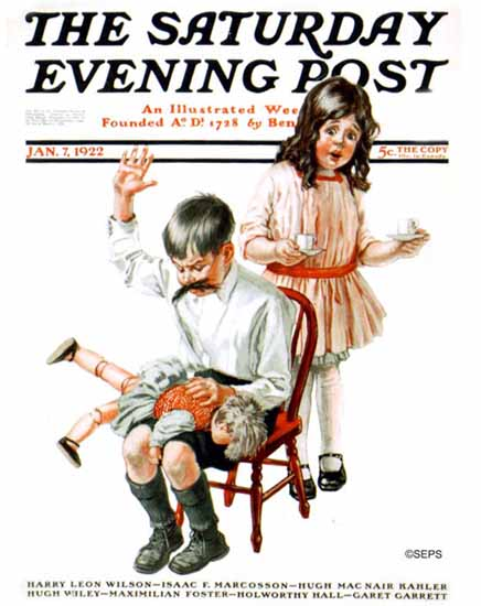 Roaring 1920s Angus MacDonall Saturday Eve Post Smacking 1922_01_07 | Roaring 1920s Ad Art and Magazine Cover Art