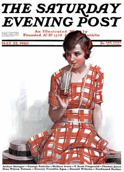Roaring 1920s Anita Parkhurst Saturday Evening Post The Sip 1920_05_22 | Roaring 1920s Ad Art and Magazine Cover Art