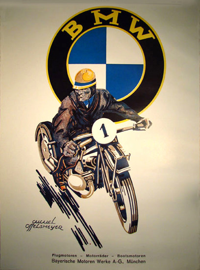 Roaring 1920s BMW Motorcycle Muenchen 1925 Munich | Roaring 1920s Ad Art and Magazine Cover Art