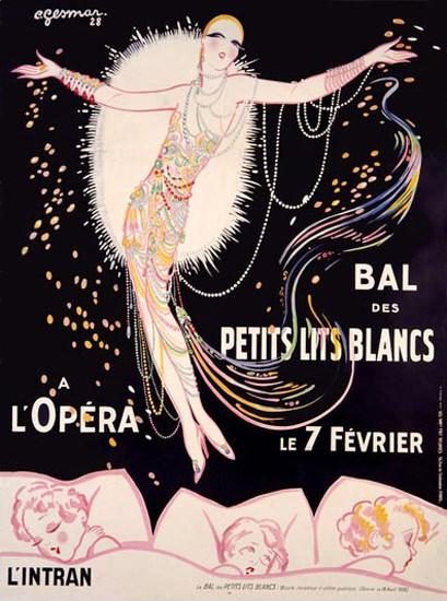 Roaring 1920s Bal Des Petits Lits Blancs A L Opera Gesmar 1928 | Roaring 1920s Ad Art and Magazine Cover Art