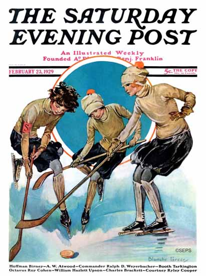 Roaring 1920s Blanche Greer Saturday Eve Post Ice Hockey 1929_02_23 | Roaring 1920s Ad Art and Magazine Cover Art