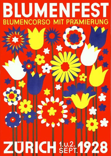 Roaring 1920s Blumenfest Zuerich 1928 Flowers Schweiz | Roaring 1920s Ad Art and Magazine Cover Art