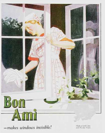 Roaring 1920s Bon Ami Makes Windows Invisible 1920s | Roaring 1920s Ad Art and Magazine Cover Art