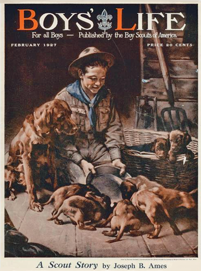 Roaring 1920s Boys Life February 1927 Norman Rockwell   Roaring 1920s Ad Art and Magazine Cover Art