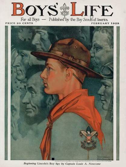 Roaring 1920s Boys Life February 1929 Norman Rockwell   Roaring 1920s Ad Art and Magazine Cover Art
