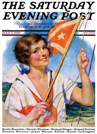 Roaring 1920s Bradshaw Crandell Artist Saturday Evening Post 1928_07_07 | Roaring 1920s Ad Art and Magazine Cover Art
