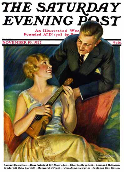 Roaring 1920s Bradshaw Crandell Saturday Evening Post 1927_11_19 | Roaring 1920s Ad Art and Magazine Cover Art