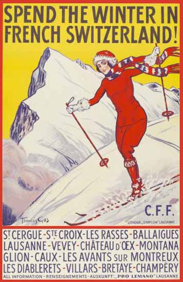 Roaring 1920s CFF Spend The Winter In French Switzerland Skiing 1923   Roaring 1920s Ad Art and Magazine Cover Art