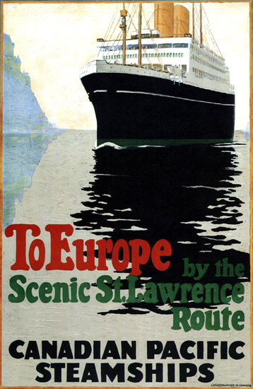 Roaring 1920s Canadian Pacific Europe St Lawrence Route 1925   Roaring 1920s Ad Art and Magazine Cover Art