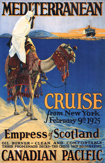 Roaring 1920s Canadian Pacific Mediterranean New York 1924   Roaring 1920s Ad Art and Magazine Cover Art