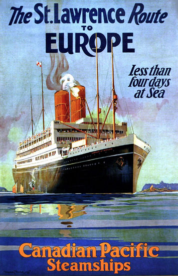 Roaring 1920s Canadian Pacific St Lawrence Route Europe 1925   Roaring 1920s Ad Art and Magazine Cover Art