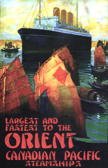 Roaring 1920s Canadian Pacific Steamships Fastest Orient 1924 | Roaring 1920s Ad Art and Magazine Cover Art