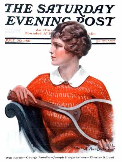 Roaring 1920s Charles A MacLellan Saturday Eve Post Tennis 1921_07_30 | Roaring 1920s Ad Art and Magazine Cover Art