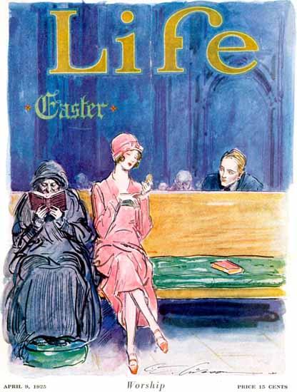 Roaring 1920s Charles Dana Gibson Life Worship 1925-04-09 Copyright | Roaring 1920s Ad Art and Magazine Cover Art