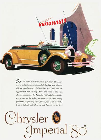 Roaring 1920s Chrysler Imperial 80 Dual Cowl Phaeton 1927 | Roaring 1920s Ad Art and Magazine Cover Art