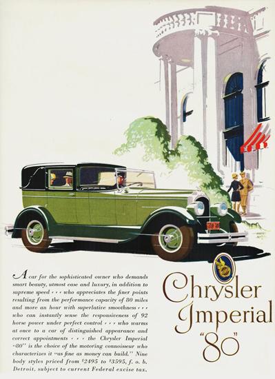 Roaring 1920s Chrysler Imperial 80 Town Sedan 1927   Roaring 1920s Ad Art and Magazine Cover Art