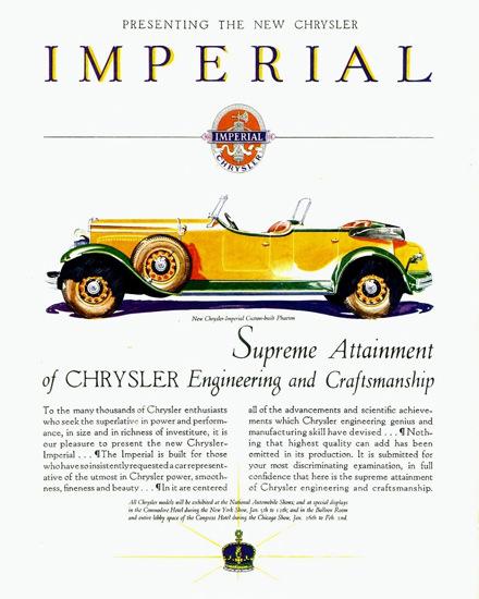 Roaring 1920s Chrysler Imperial Custom Built Phaeton 1929   Roaring 1920s Ad Art and Magazine Cover Art