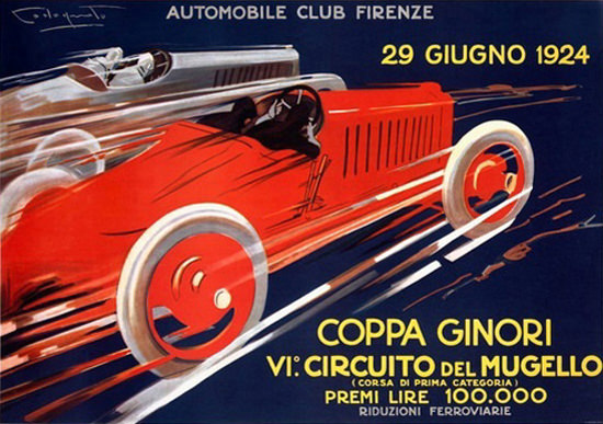 Roaring 1920s Circuito Del Mugello 1924 Automobile Club Firenze | Roaring 1920s Ad Art and Magazine Cover Art