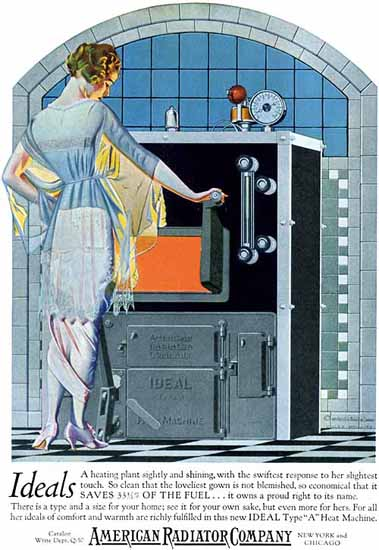Roaring 1920s Coles Phillips American Radiator Ideals Saves Fuel 1921 | Roaring 1920s Ad Art and Magazine Cover Art