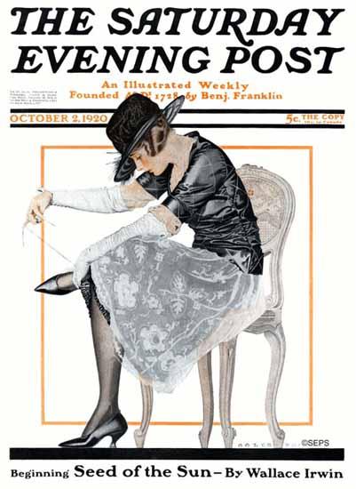 Roaring 1920s Coles Phillips Artist Saturday Evening Post 1920_10_02   Roaring 1920s Ad Art and Magazine Cover Art