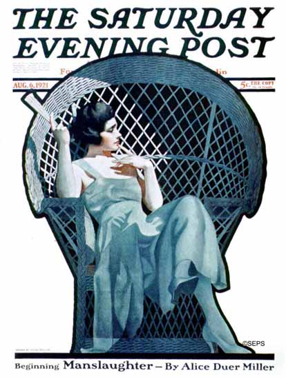 Roaring 1920s Coles Phillips Artist Saturday Evening Post 1921_08_06 | Roaring 1920s Ad Art and Magazine Cover Art