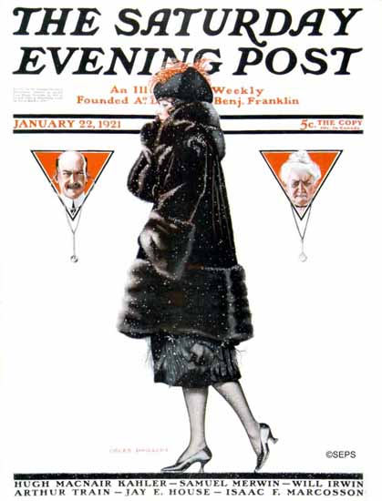 Roaring 1920s Coles Phillips Cover Saturday Evening Post 1921_01_22   Roaring 1920s Ad Art and Magazine Cover Art
