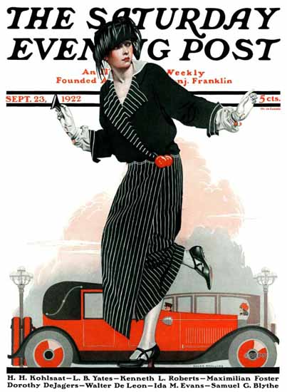 Roaring 1920s Coles Phillips Cover Saturday Evening Post 1922_09_23 | Roaring 1920s Ad Art and Magazine Cover Art