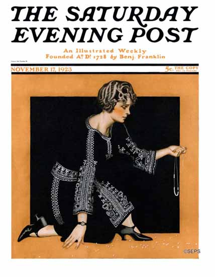 Roaring 1920s Coles Phillips Cover Saturday Evening Post 1923_11_17 | Roaring 1920s Ad Art and Magazine Cover Art