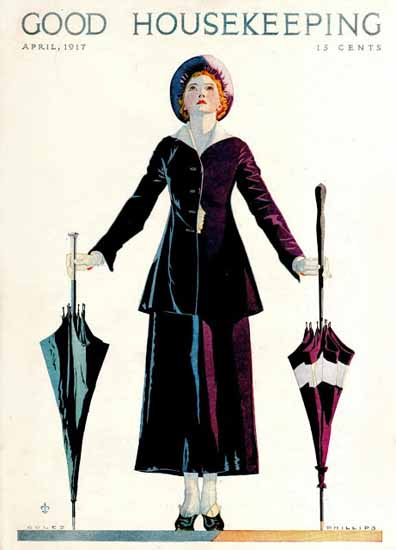 Roaring 1920s Coles Phillips Good Housekeeping April 1917 Copyright | Roaring 1920s Ad Art and Magazine Cover Art