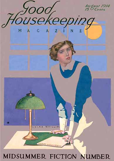 Roaring 1920s Coles Phillips Good Housekeeping August 1914 Copyright | Roaring 1920s Ad Art and Magazine Cover Art