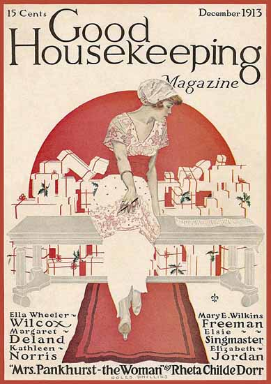 Roaring 1920s Coles Phillips Good Housekeeping Dec 1913 Copyright | Roaring 1920s Ad Art and Magazine Cover Art