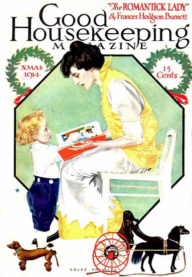 Roaring 1920s Coles Phillips Good Housekeeping Dec 1914 Copyright   Roaring 1920s Ad Art and Magazine Cover Art