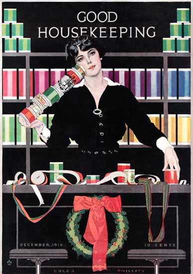 Roaring 1920s Coles Phillips Good Housekeeping Dec 1916 Copyright | Roaring 1920s Ad Art and Magazine Cover Art
